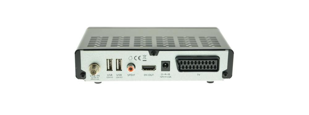 Die Rückseite des NA Digital 3001 mit 2 USB, Coasial Digital Output, HDMI, Scart und SAT Tuner