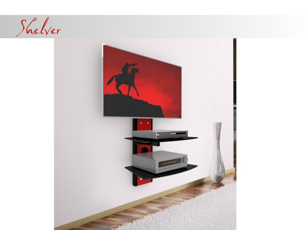 casado shelver wand tv hifi wandkonsole wandpaneel wandhalterung 4 farben. Black Bedroom Furniture Sets. Home Design Ideas