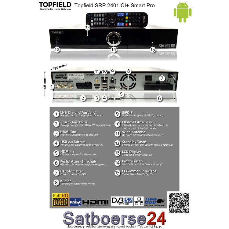 Topfield SRP-2401CI+ Smart Pro 1TB Android HDTV Twin Sat Receiver