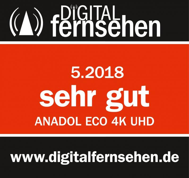 Digital Fernsehen 5.2018 zeichnet den Anadol ECO 4K mit Testurteil sehr gut aus