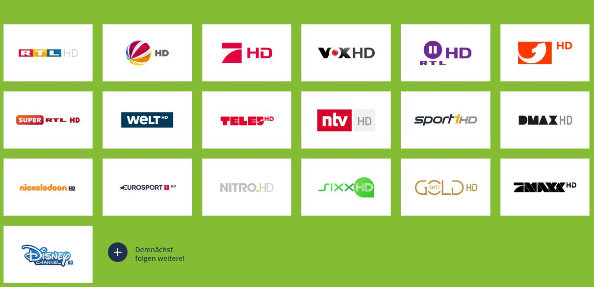 Sender aus dem Freenet Abo Angebot über DVB-T2