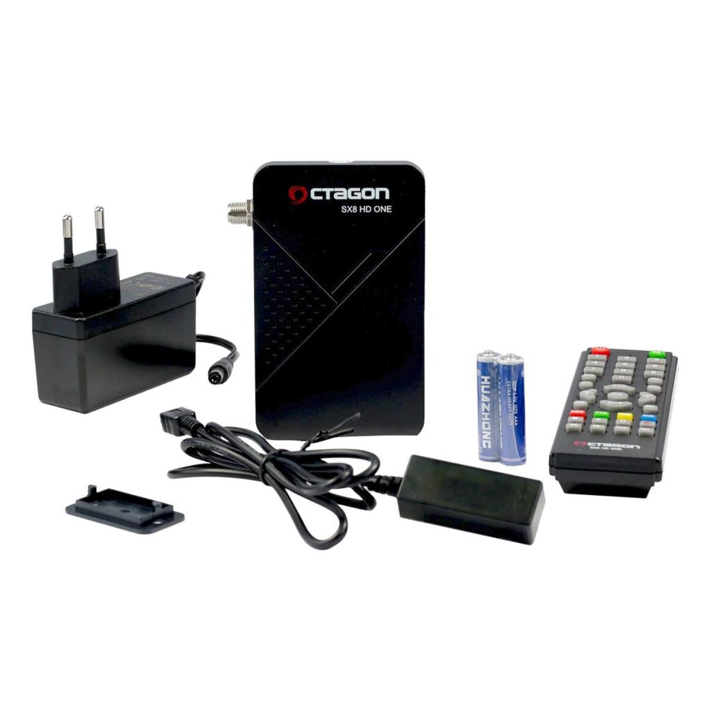 Im Lieferumfang des OCTAGON SX8 HD One ist neben den SAT IPTV Receiver der externe Infrarot empfänger mit LED Display Anzeige. Ein Netzteil für Deutsche Stekdosen, Eine gut übersichtliche Infrarot Fernbedienung. Zwei Batterien 2x AAA Size.Eine Halterung aus Plastik mit Rast Funktion