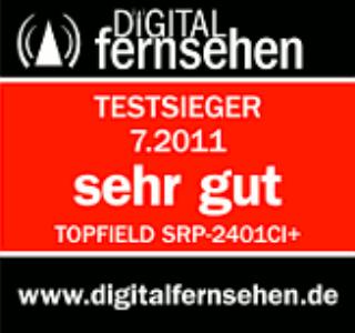 Digital Fernsehen 07.2011 vergibt Testurteil sehr gut zum Topfielf SRP2401 CI+ ECO
