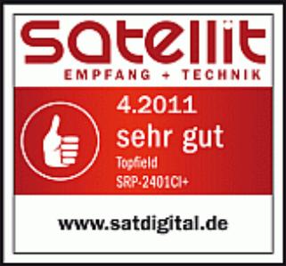 Satdigital vergibt 04.2011 Testurteil sehr gut zum Topfield SRP2401 CI+ ECO