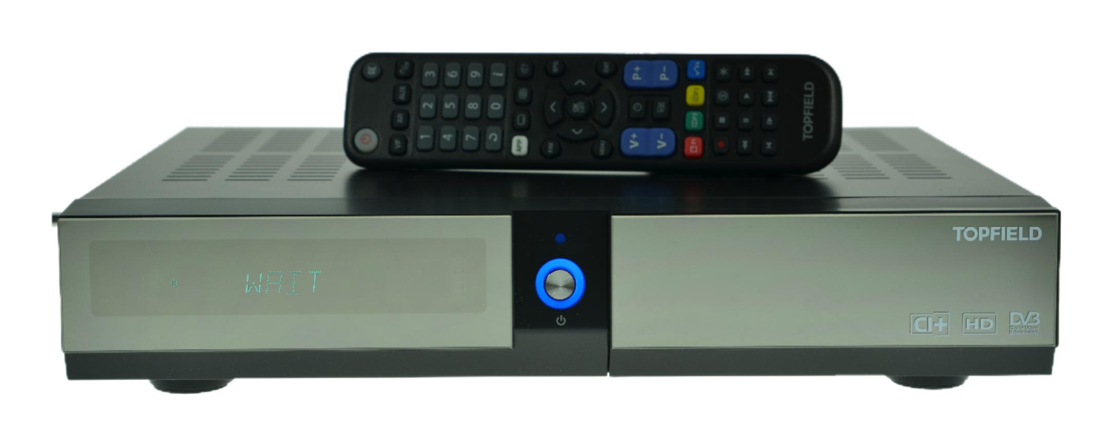 Der CI+ Receiver ECO von Topfield SRP2401 bietet auf der Frontseite ein Informative Anzeige.