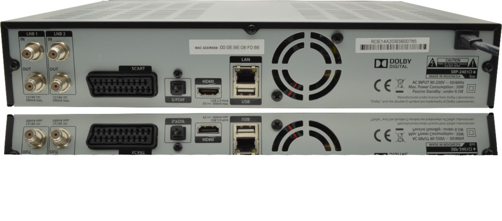 Auf der Rückseite der ECO von Topfield SRP2401 mit CI+ haben Sie 2 SAT Eingänge für die Twin-Nutzung. Scart für Analog Fernseher, Optisches Digital Audio Out, HDMI USB und Ethernet LAN Netzwerk